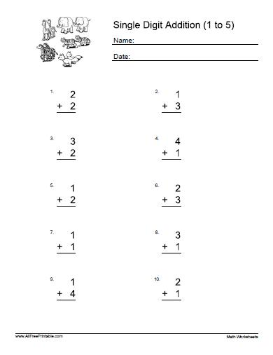 math worksheet : single addition worksheets with pictures  worksheets : Simple Addition Worksheets Free