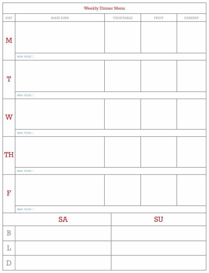 7 Images of Blank Weekly Menu Templates Printables