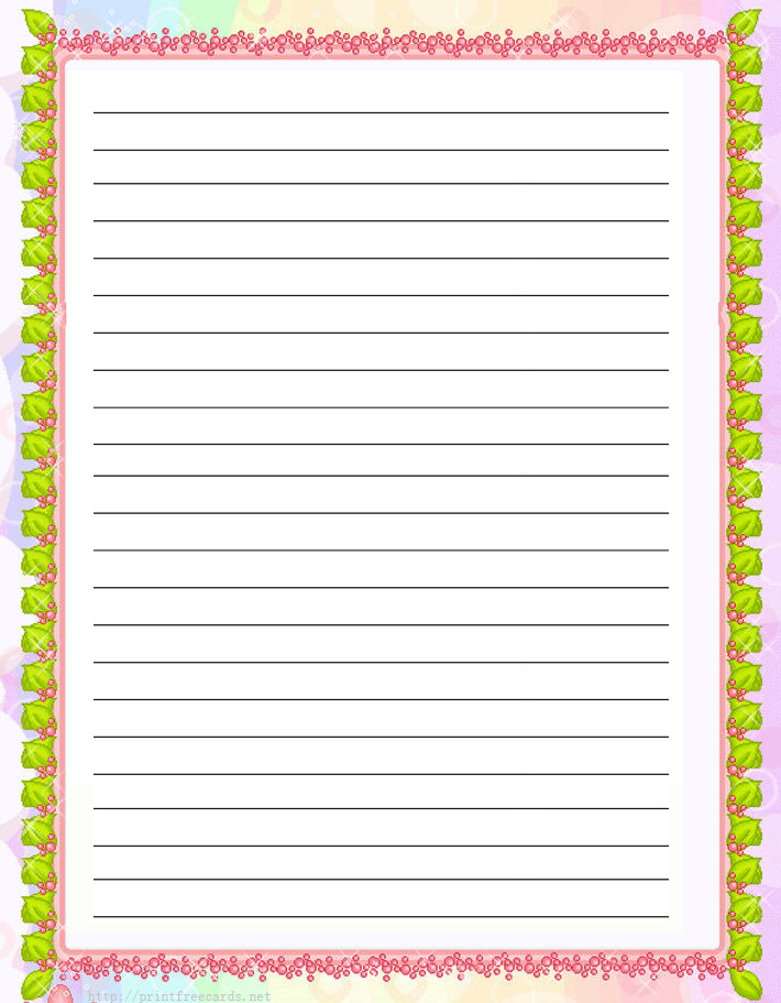 Free Printable Stationary with Lines & Borders