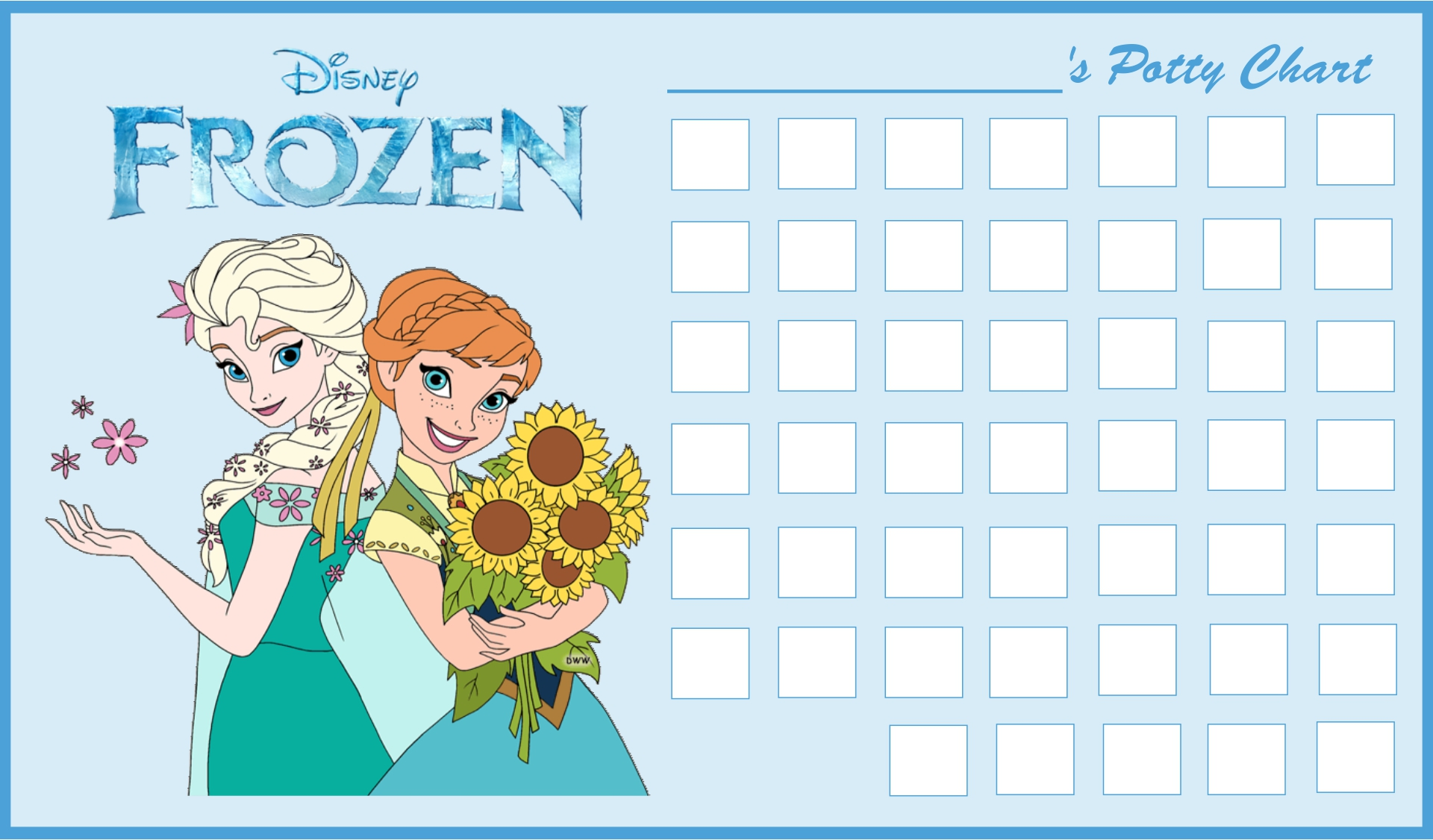 9 Images of Frozen Free Printable Potty Charts
