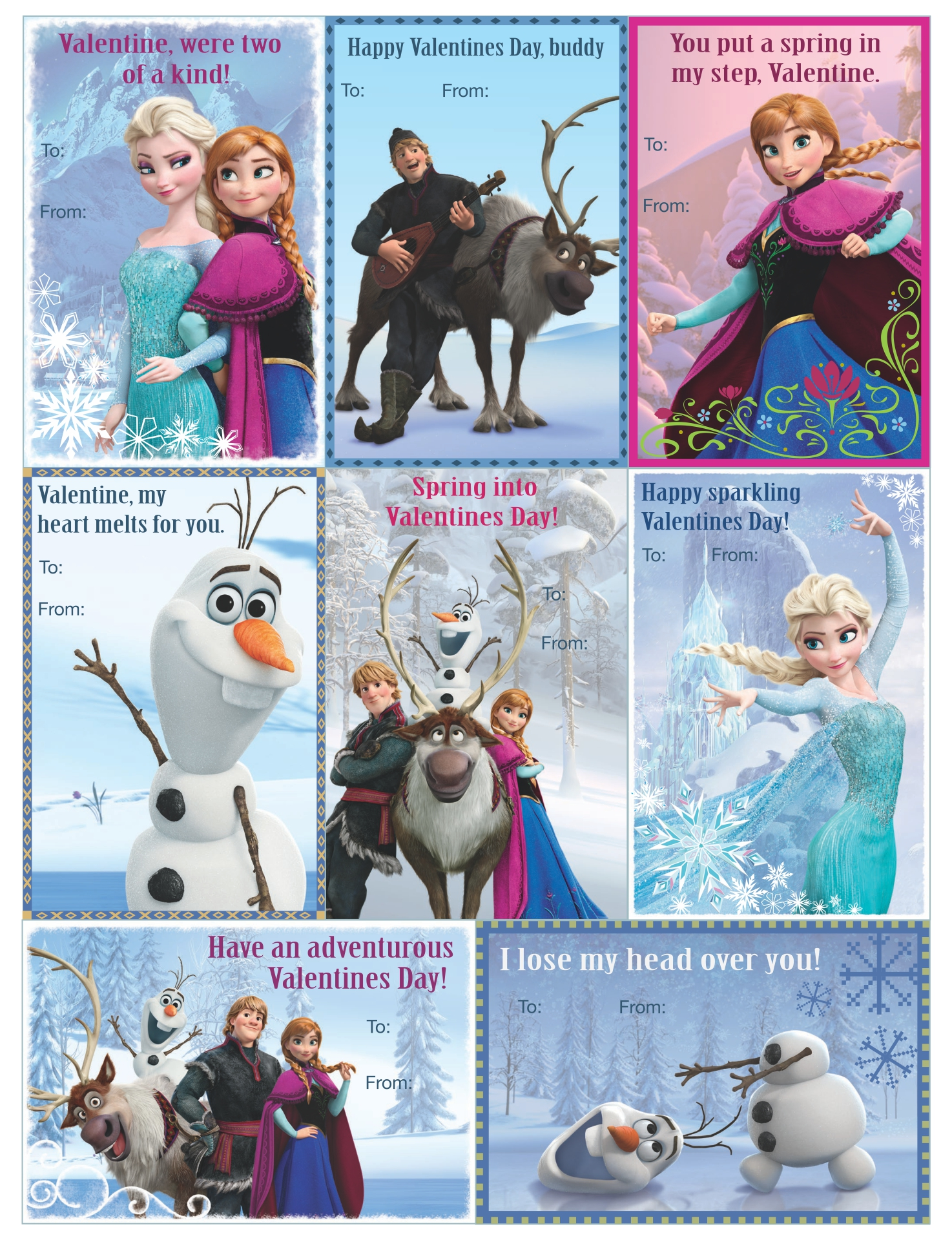 9 Images of Printable Frozen Valentine Cards