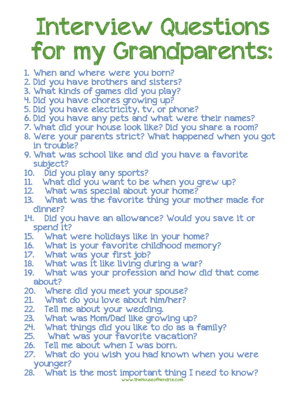 6 Images of Interview Questions Printable For Grandma