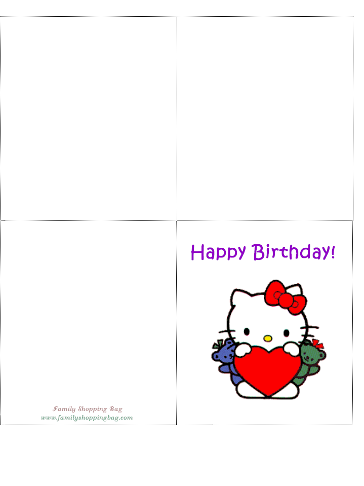 4 Images of Hello Kitty Printable Cards