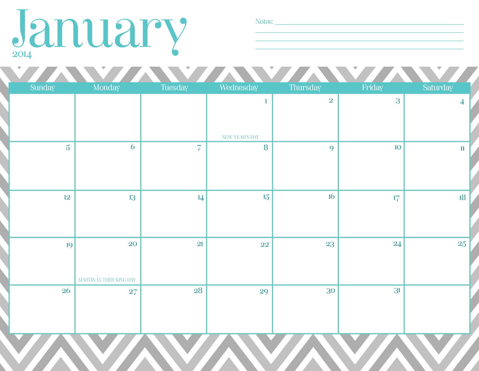 Cute Calendar January 2016 : Best images of free chevron printable calendar