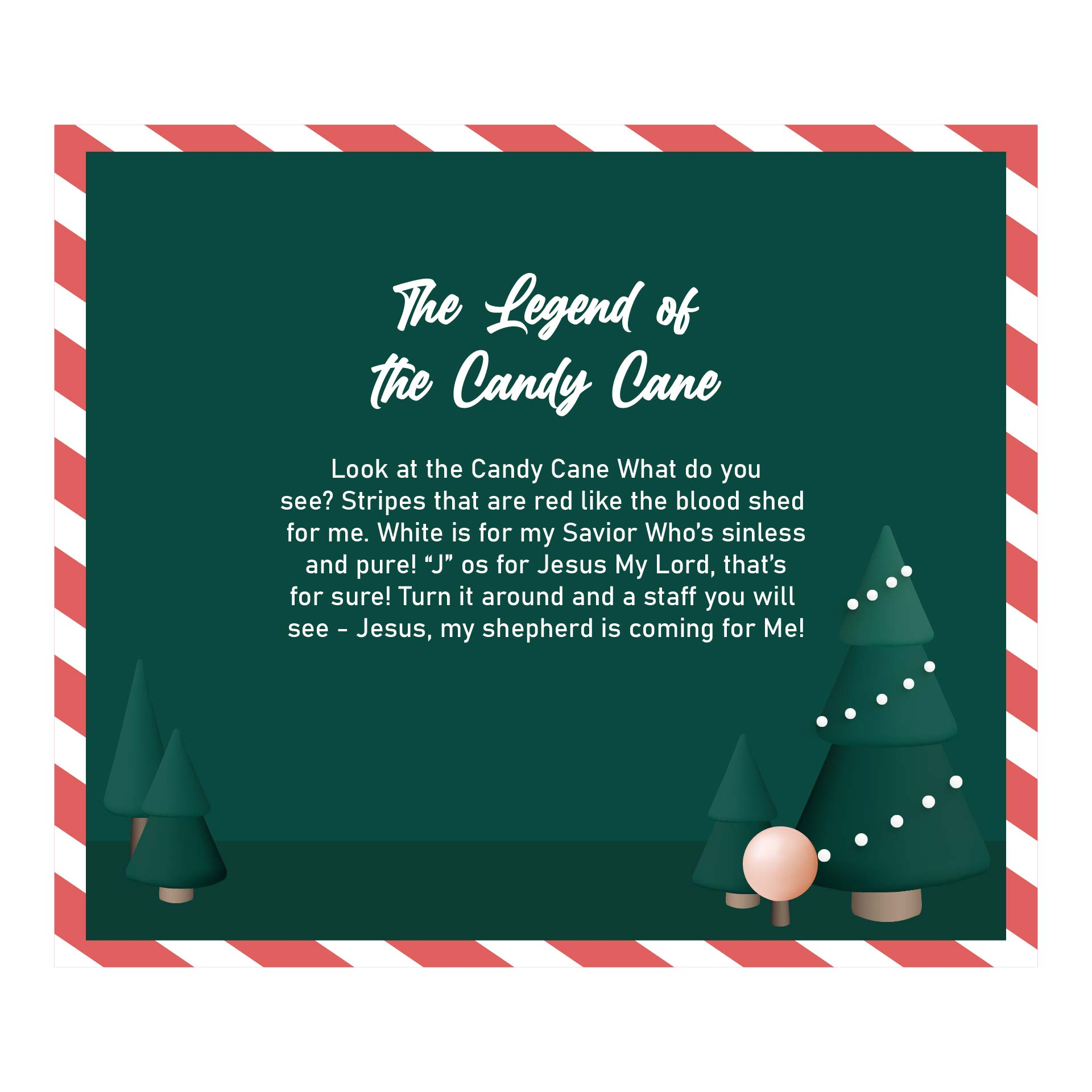 Legend of the Candy Cane Story Printable