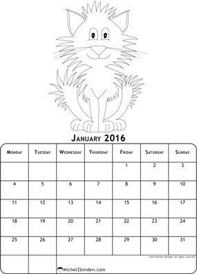 7 Images of Free Printable 2016 Cat Calendar