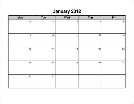 6 Images of Monday Through Friday Blank Calendar 2015 Printable