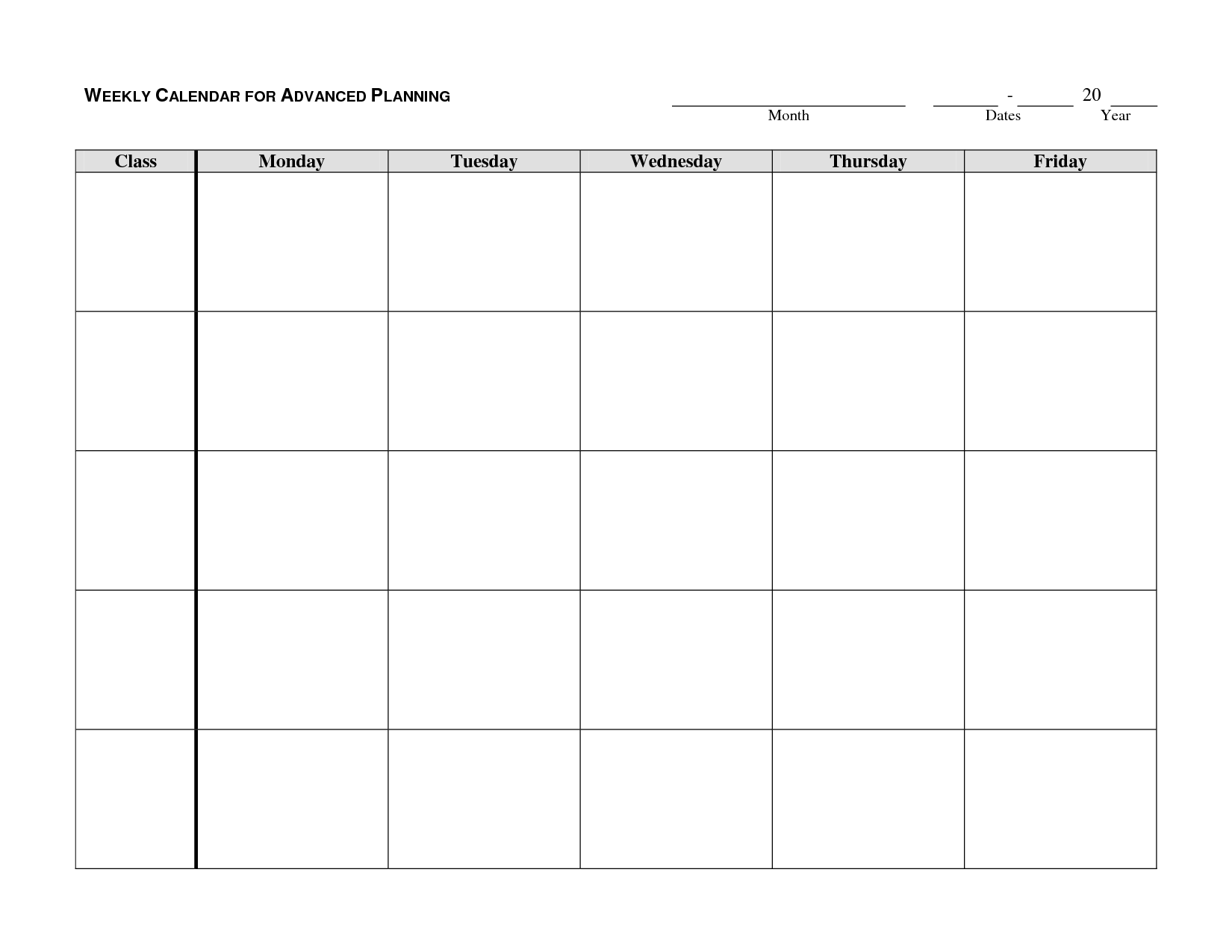 monday through friday schedule template