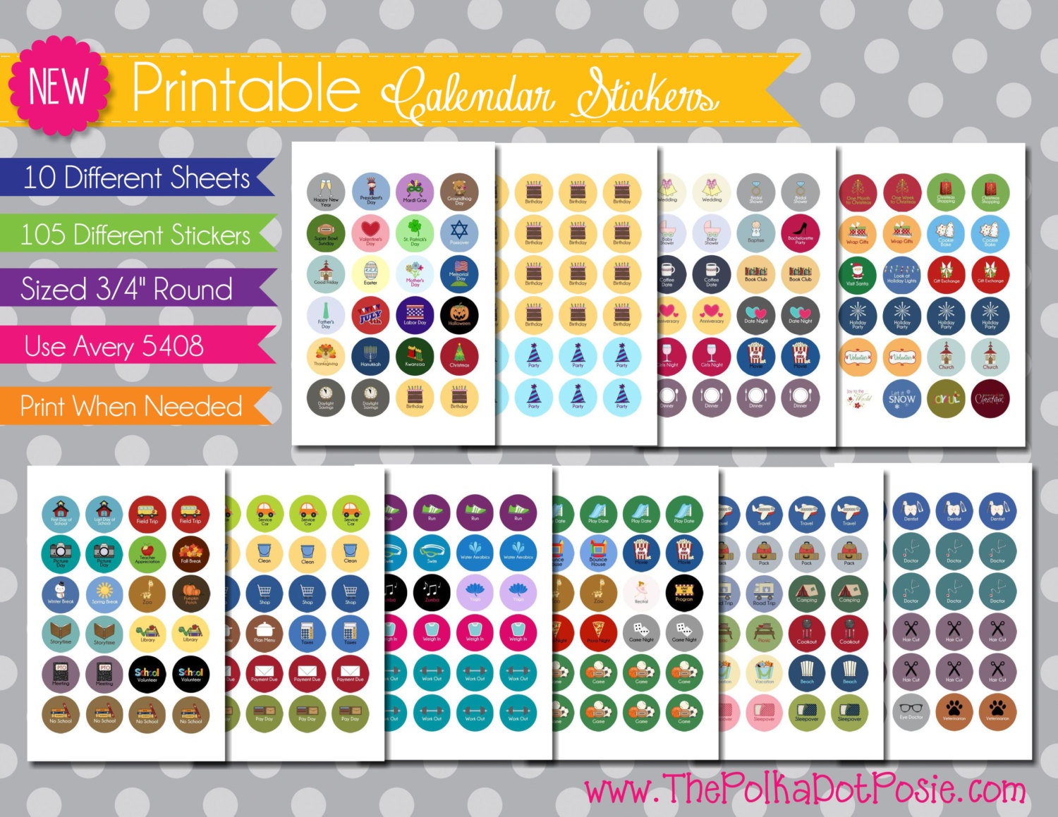 Calendar Planner Stickers : Best images of printable stickers free