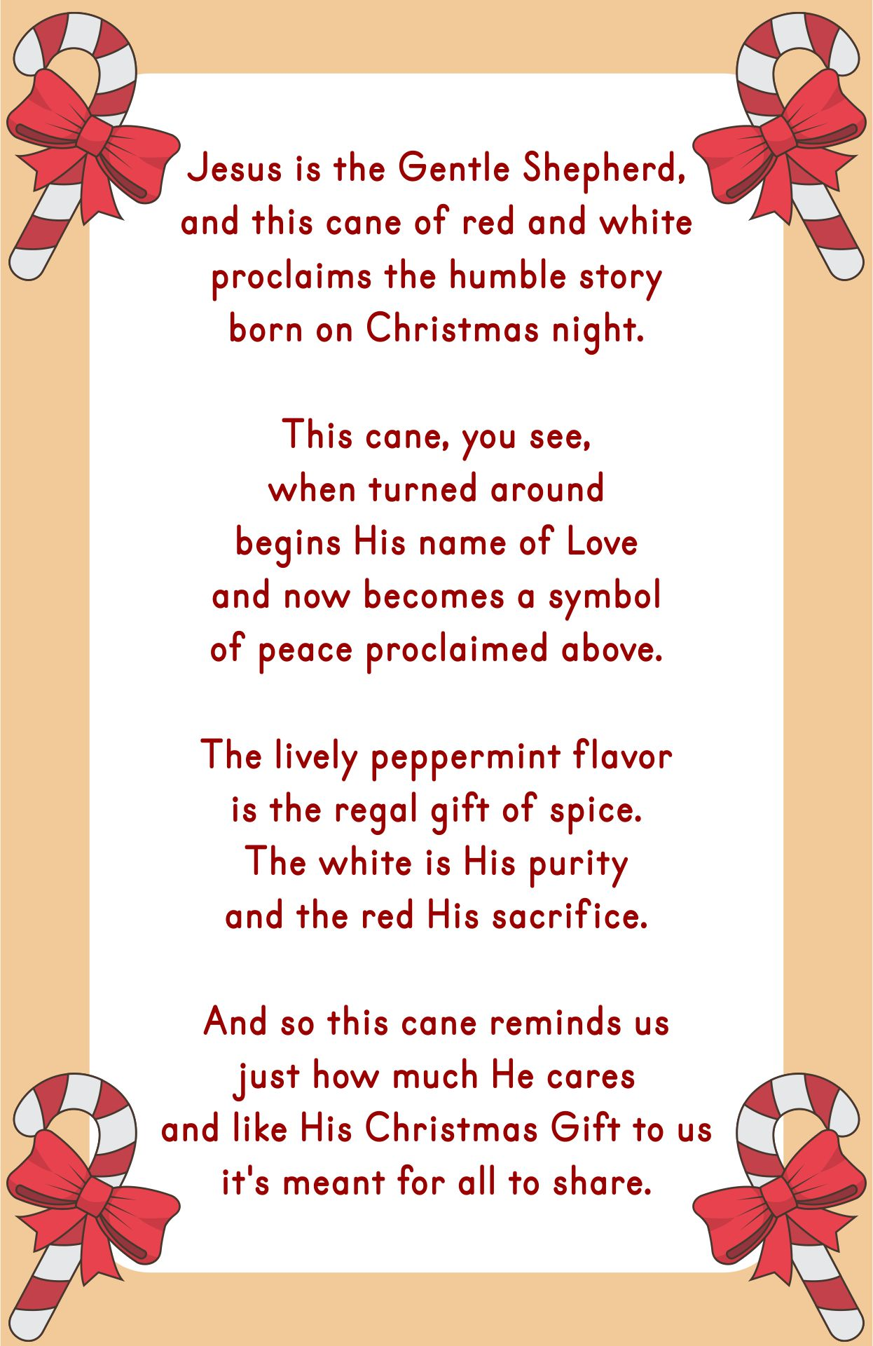 Printable Candy Cane Story