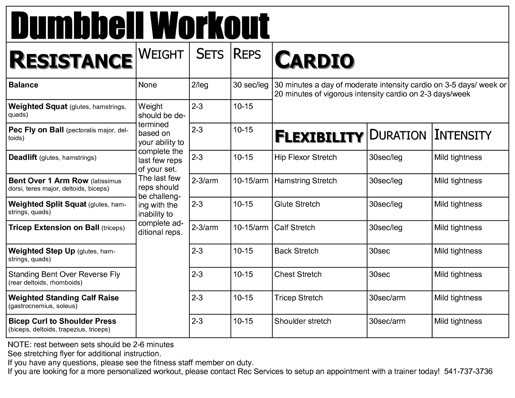 5 Images of Free Printable Dumbbell Workout Chart