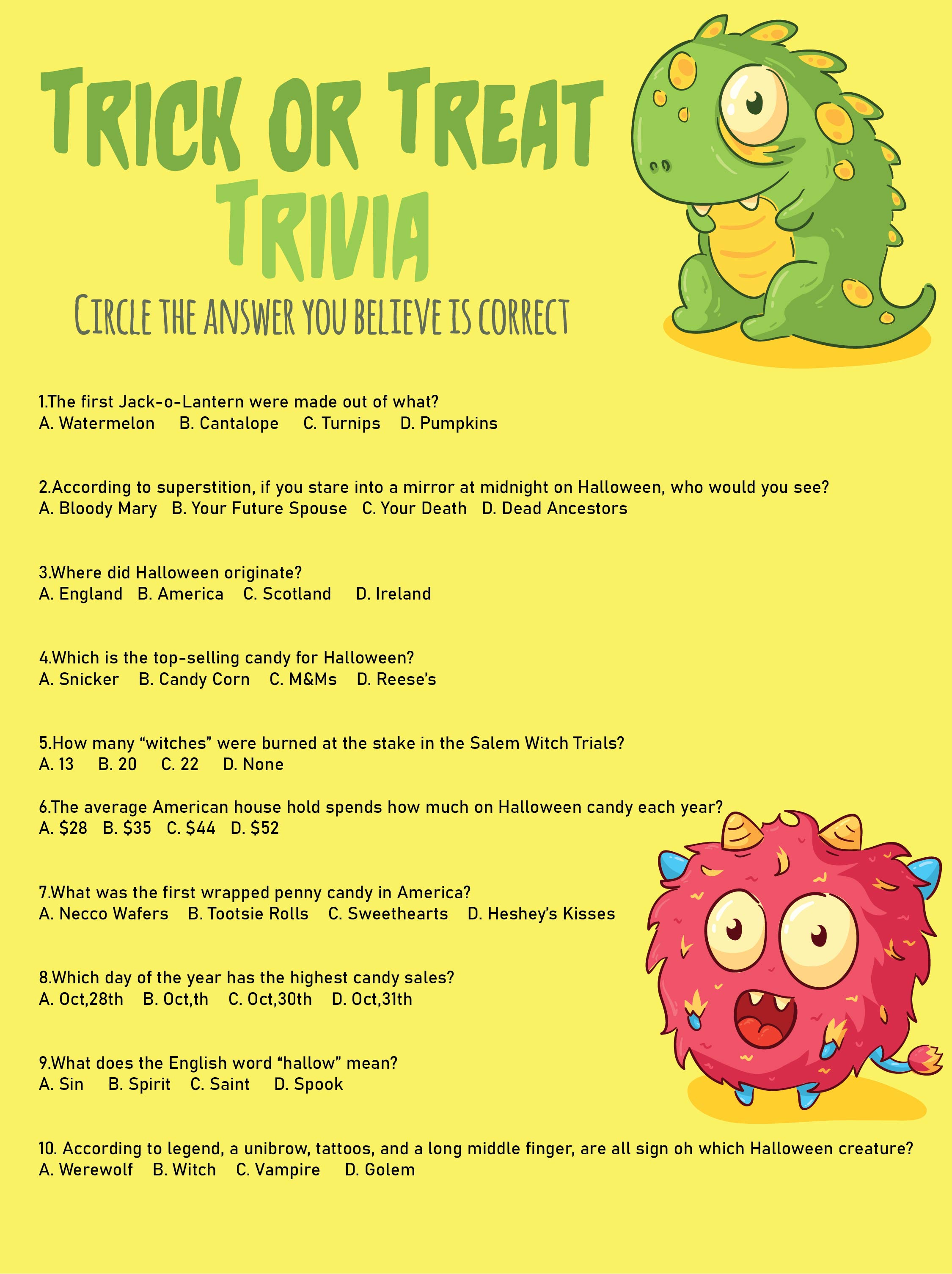 6 Images of Free Printable Halloween Trivia