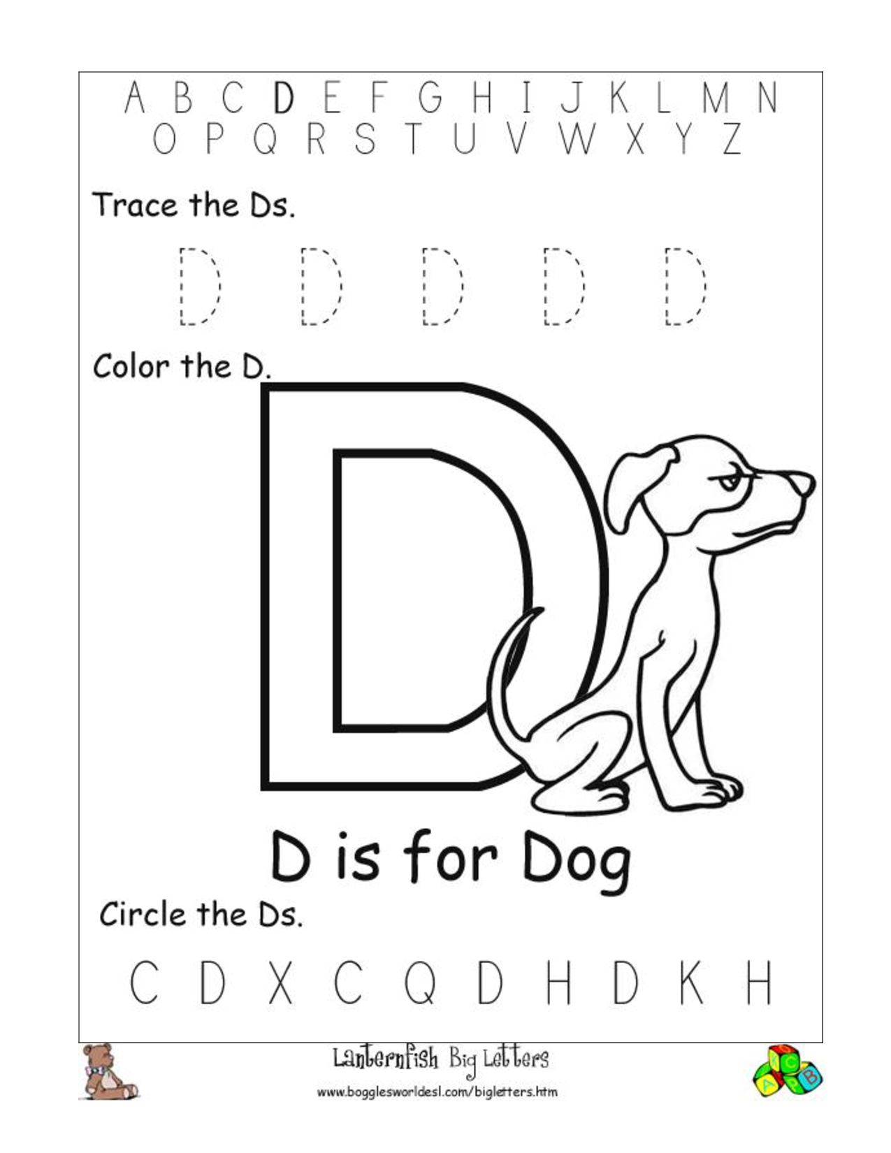 letter d worksheets 6 best images of printable letter d worksheets for 1360