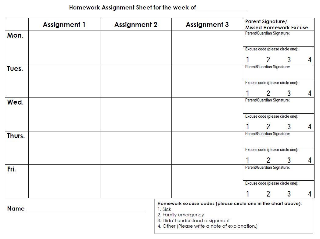 Printable Weekly Homework Calendar