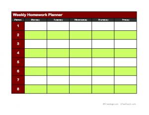 Printable Weekly Homework Planner Template