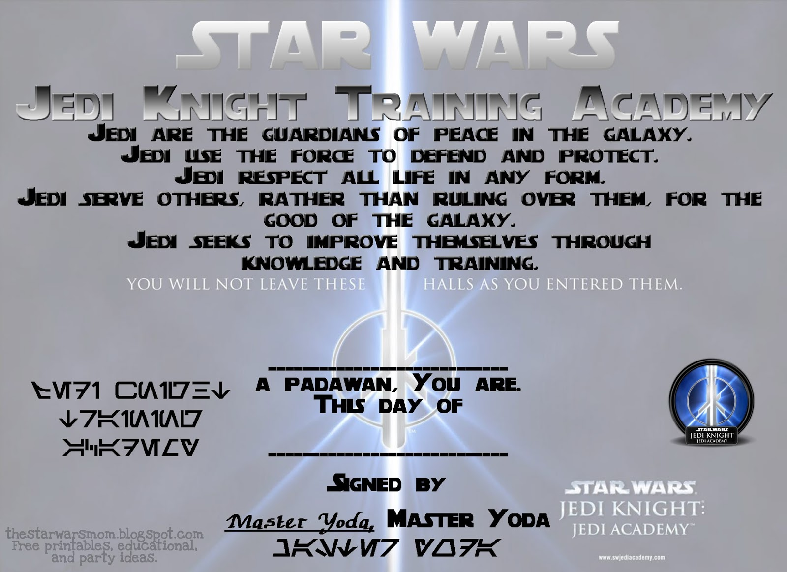 8 best images of star wars certificate printable star for Jedi certificate template free