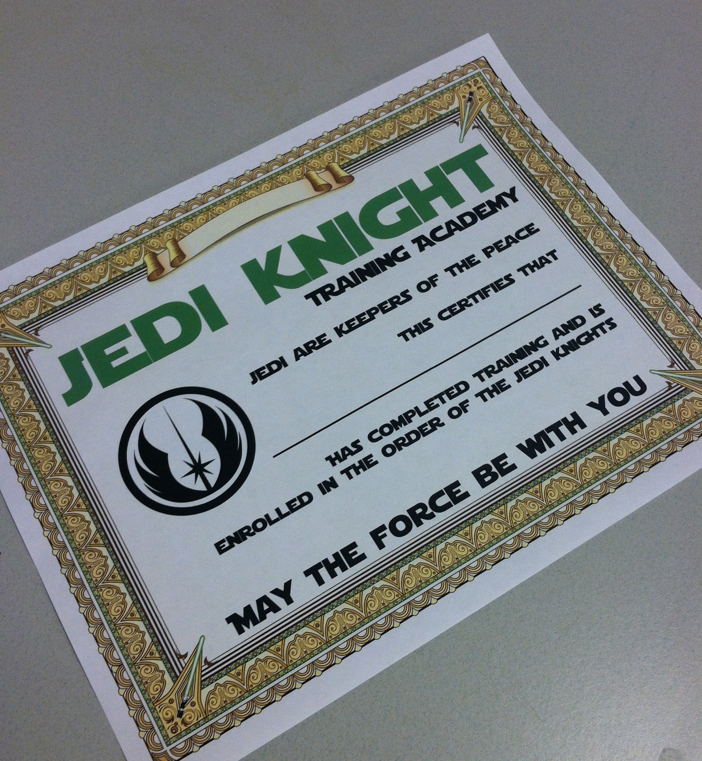 8 best images of star wars certificate printable star wars jedi certificates printable free for Jedi knight certificate