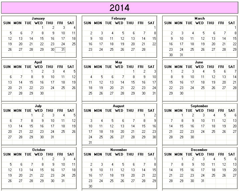 6 Images of Free Printable 8 X 11 2014 Yearly Calendar