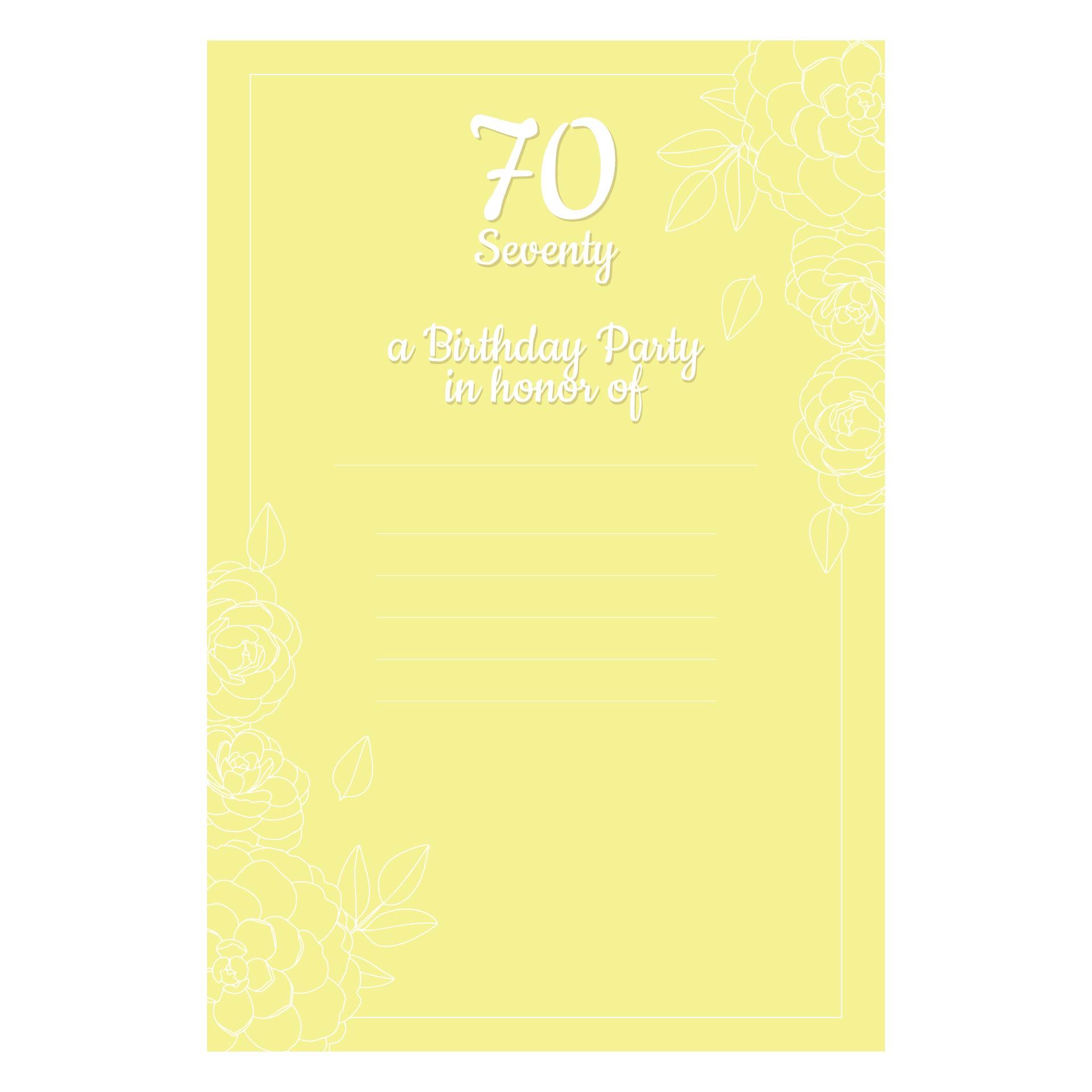 70th Birthday Invitations Printable