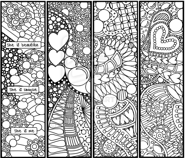 free printable adult coloring page with bookmarks