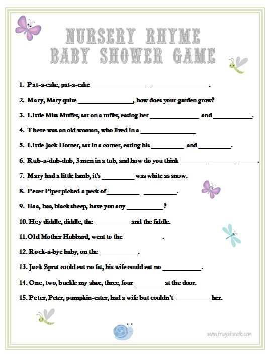 6 Images of Printable Nursery Rhyme Baby Shower