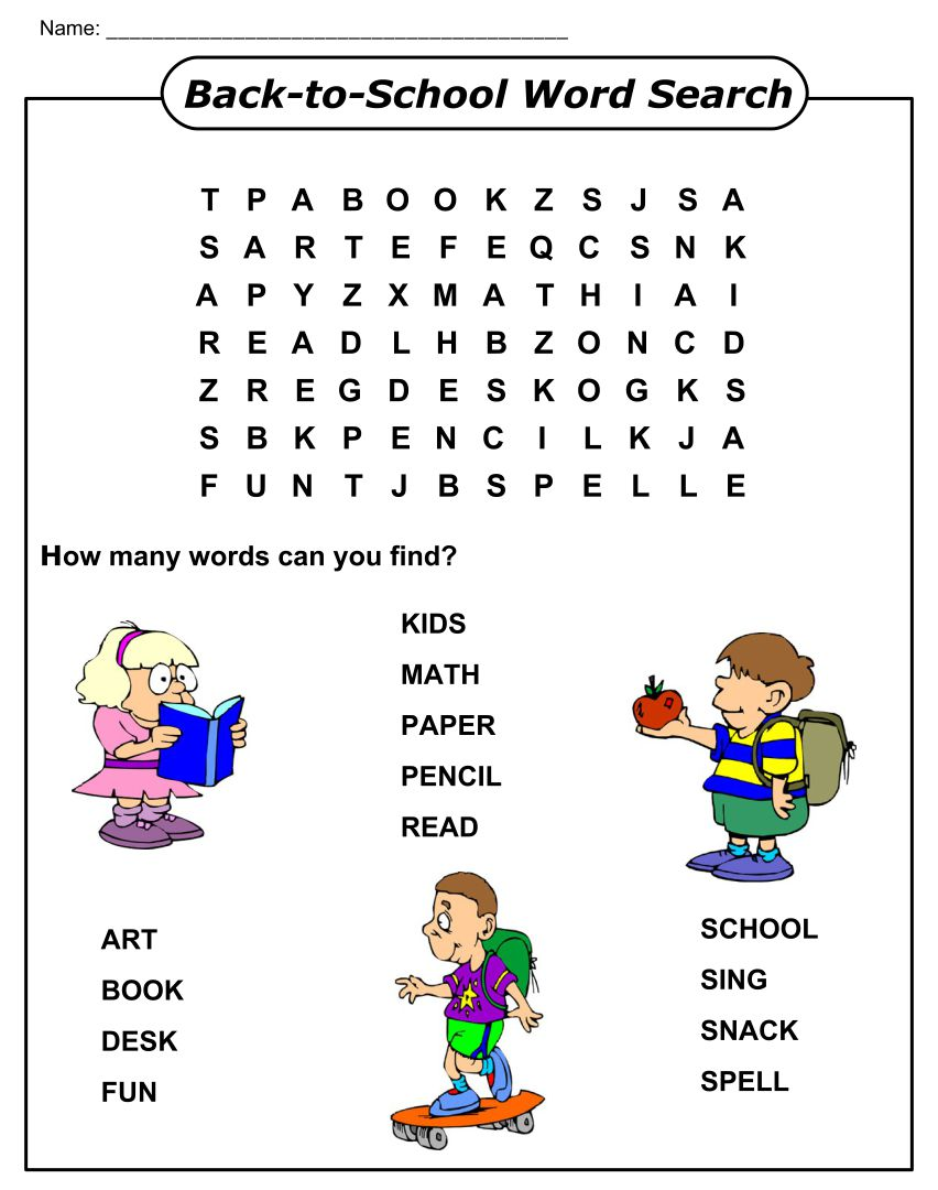 Back to School Word Search Puzzles Printable