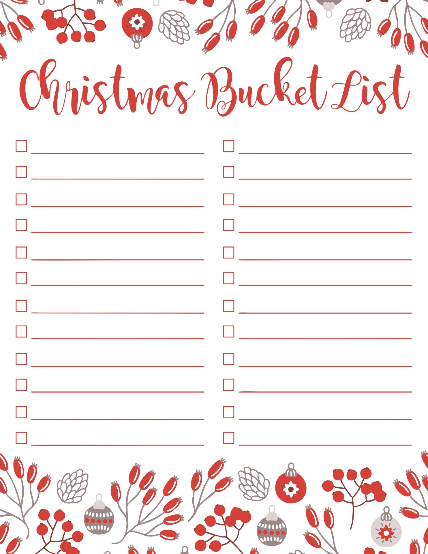 Bucket List Templates Printable Free