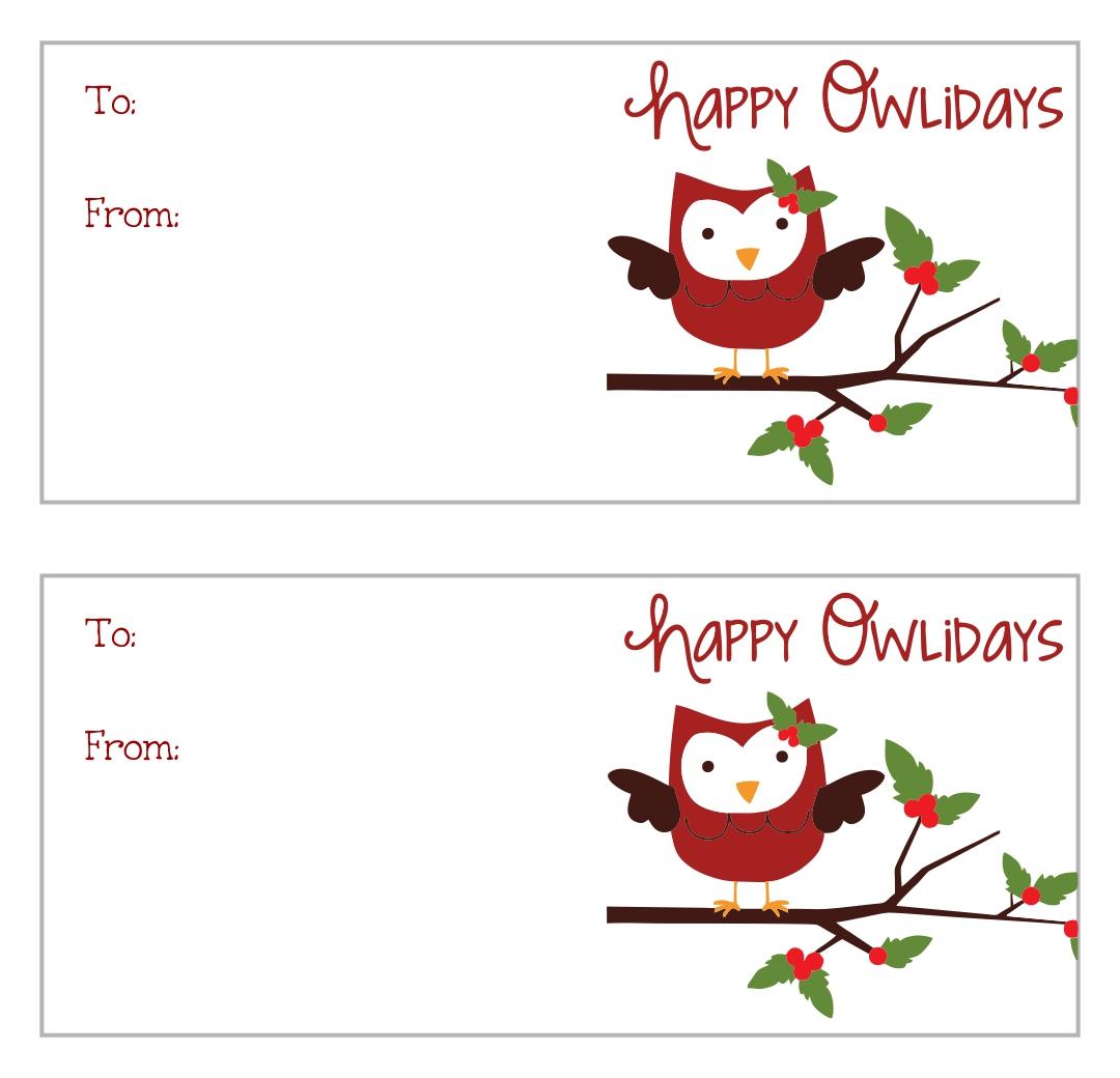 Christmas Gift Tags Printable Owls