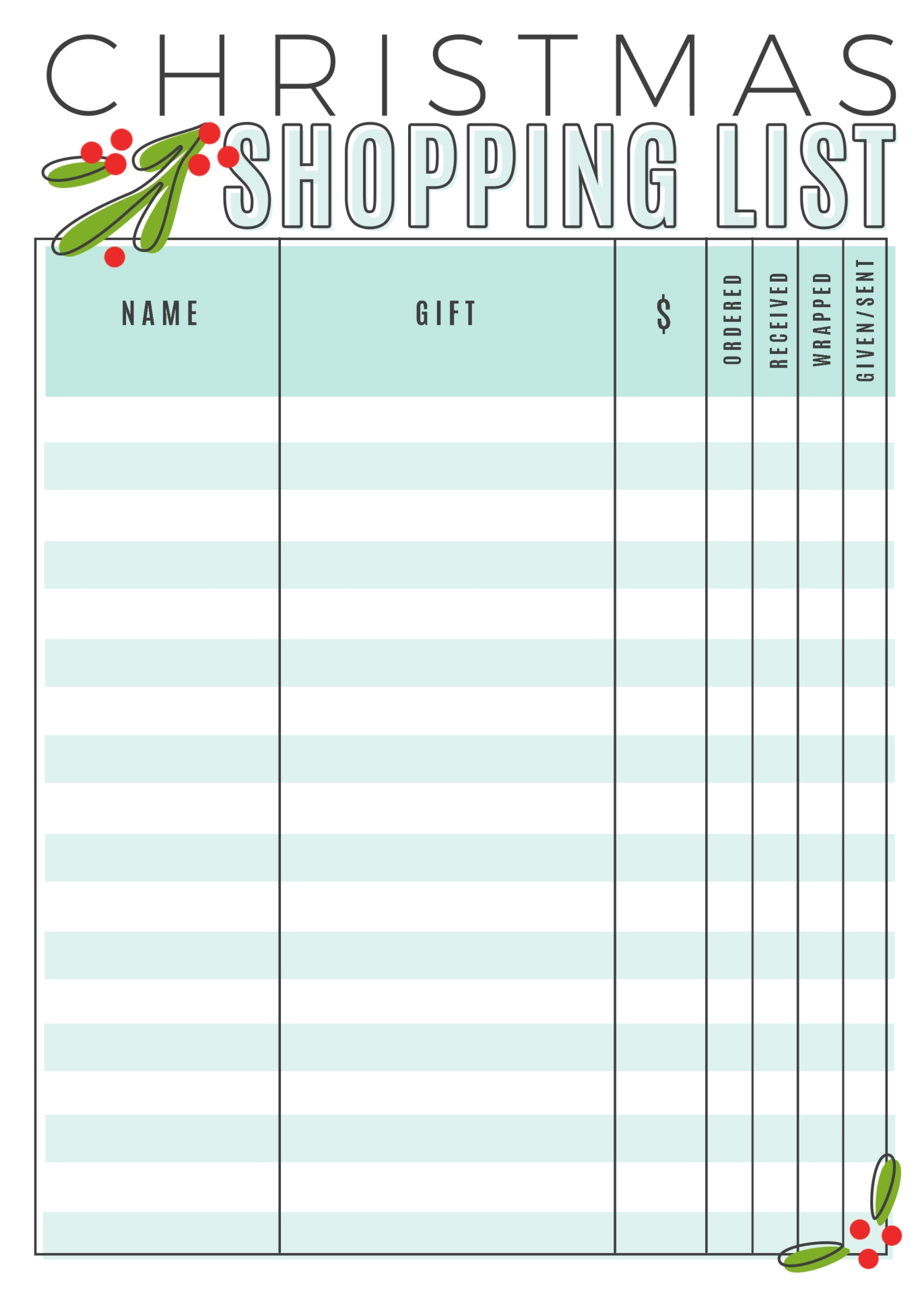5 Images of Free Printable Christmas Shopping List Template