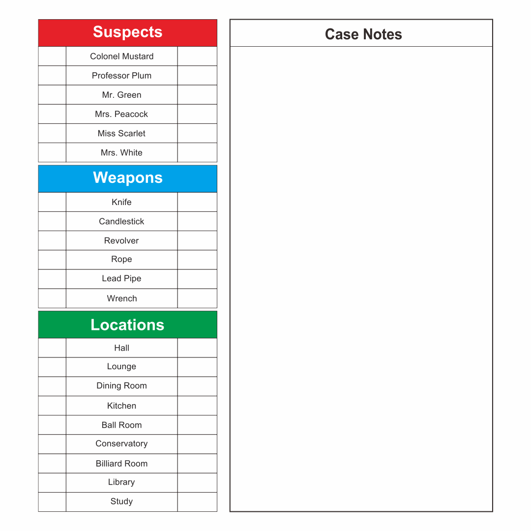 Clue Game Sheets Printable