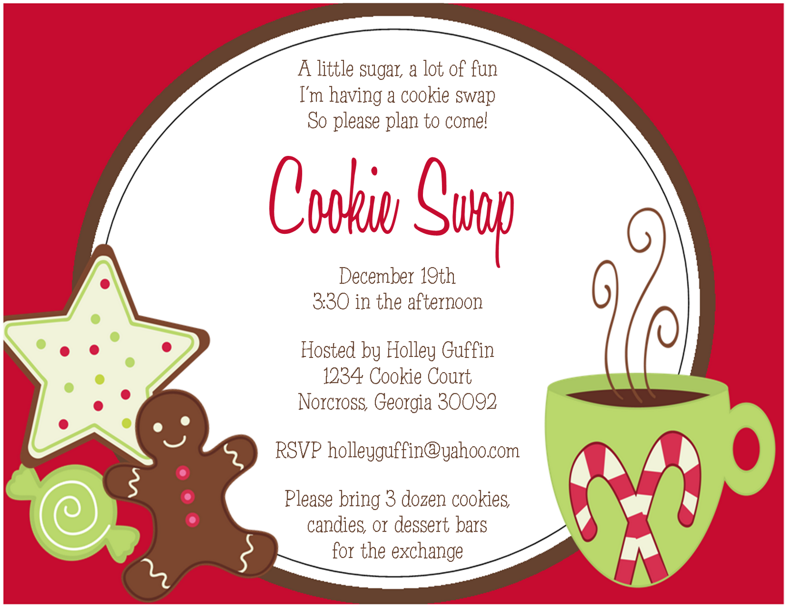 7 Images of Cookie Swap Printable Invitations