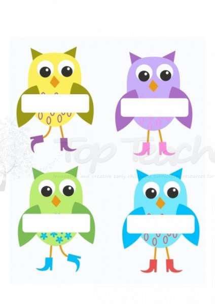5 Images of Free Printable Owl Name Tags