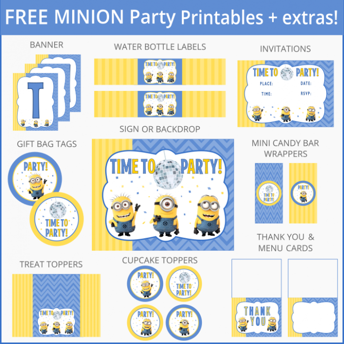 6 Images of Minion Party Free Printables
