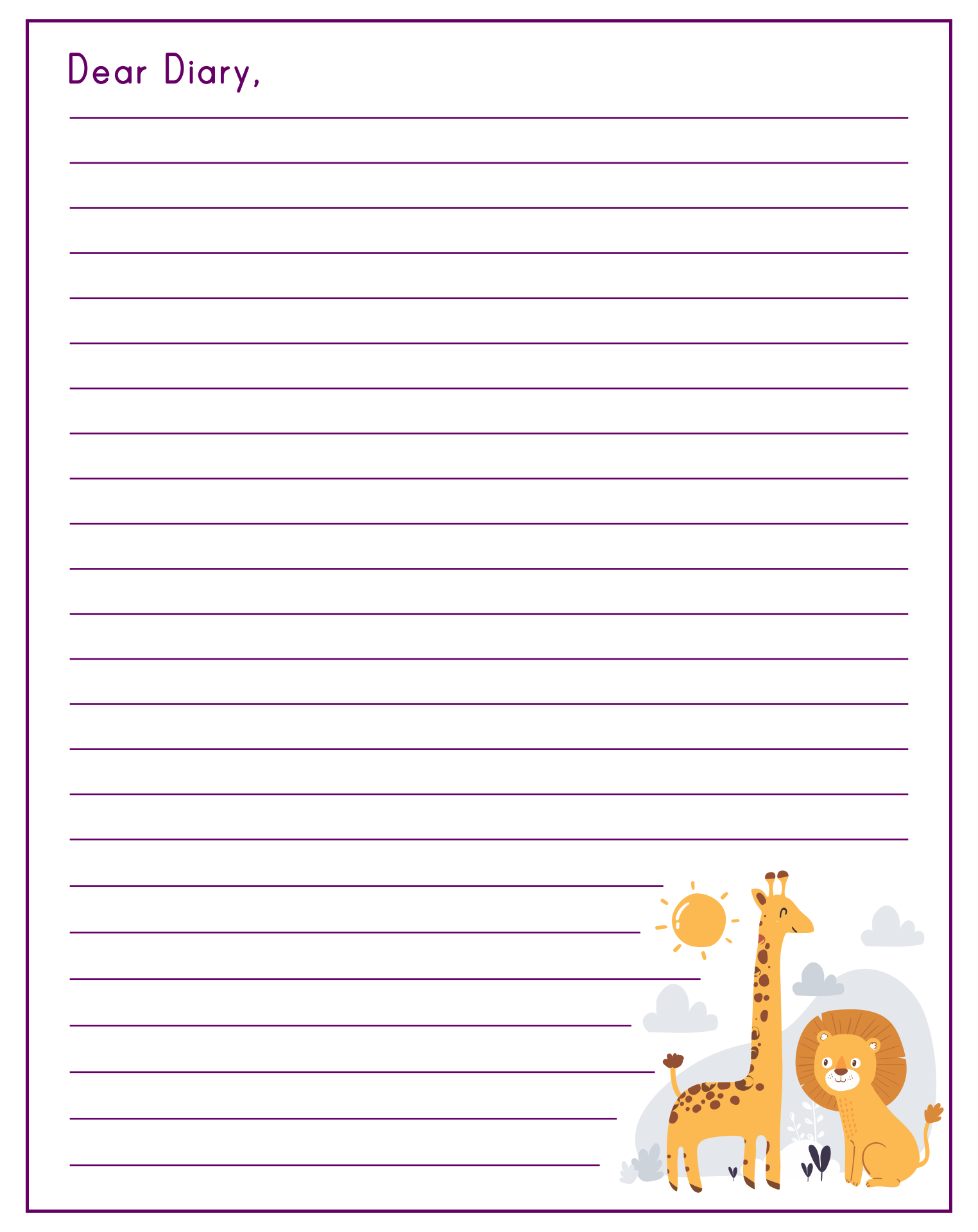 Diary Writing Paper Template