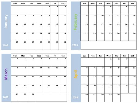 Calendars 4 months per page autos post for 4 month calendar template 2014