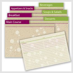 8 Images of Free Printable Recipe Divider Templates