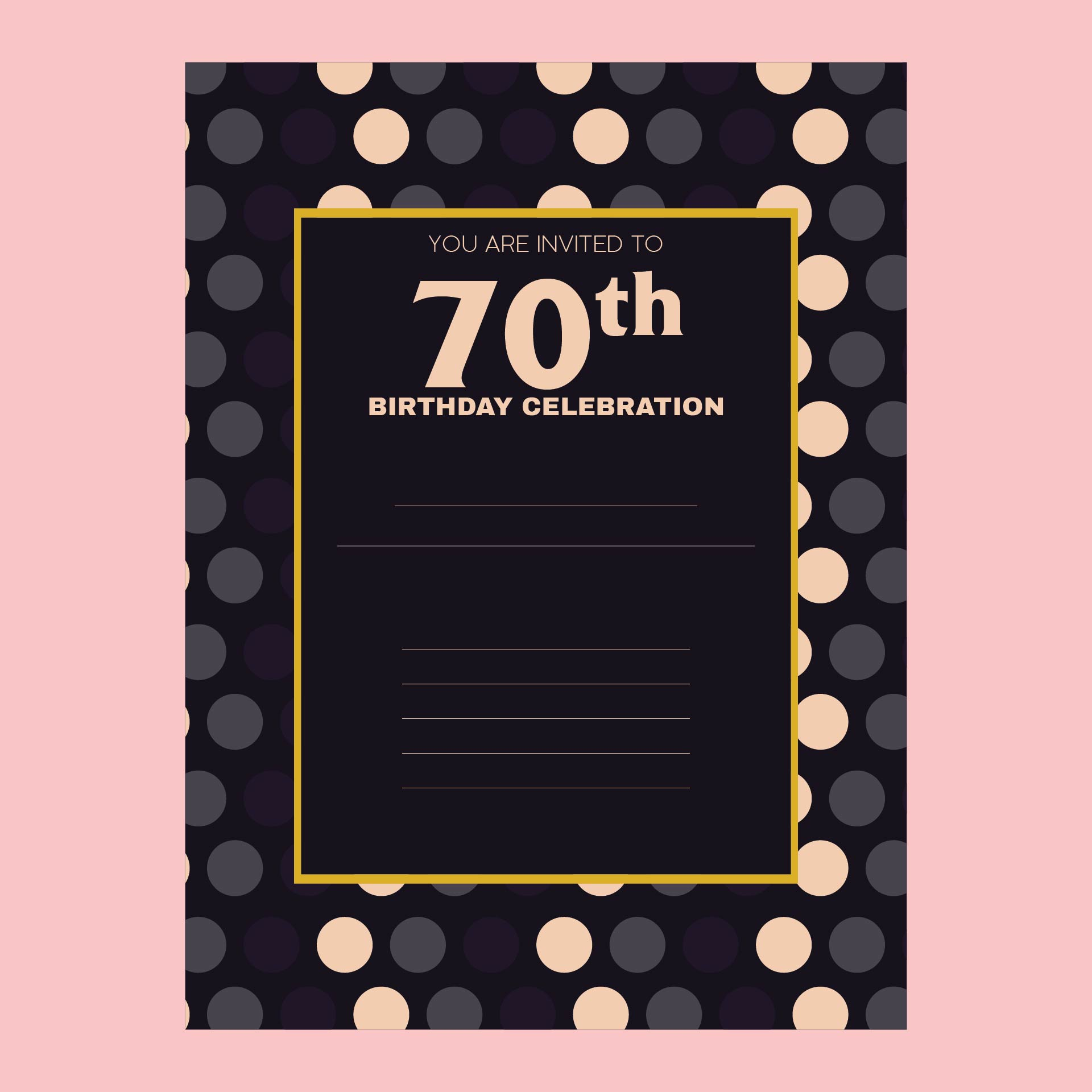Printable 70th Birthday Invitations Templates