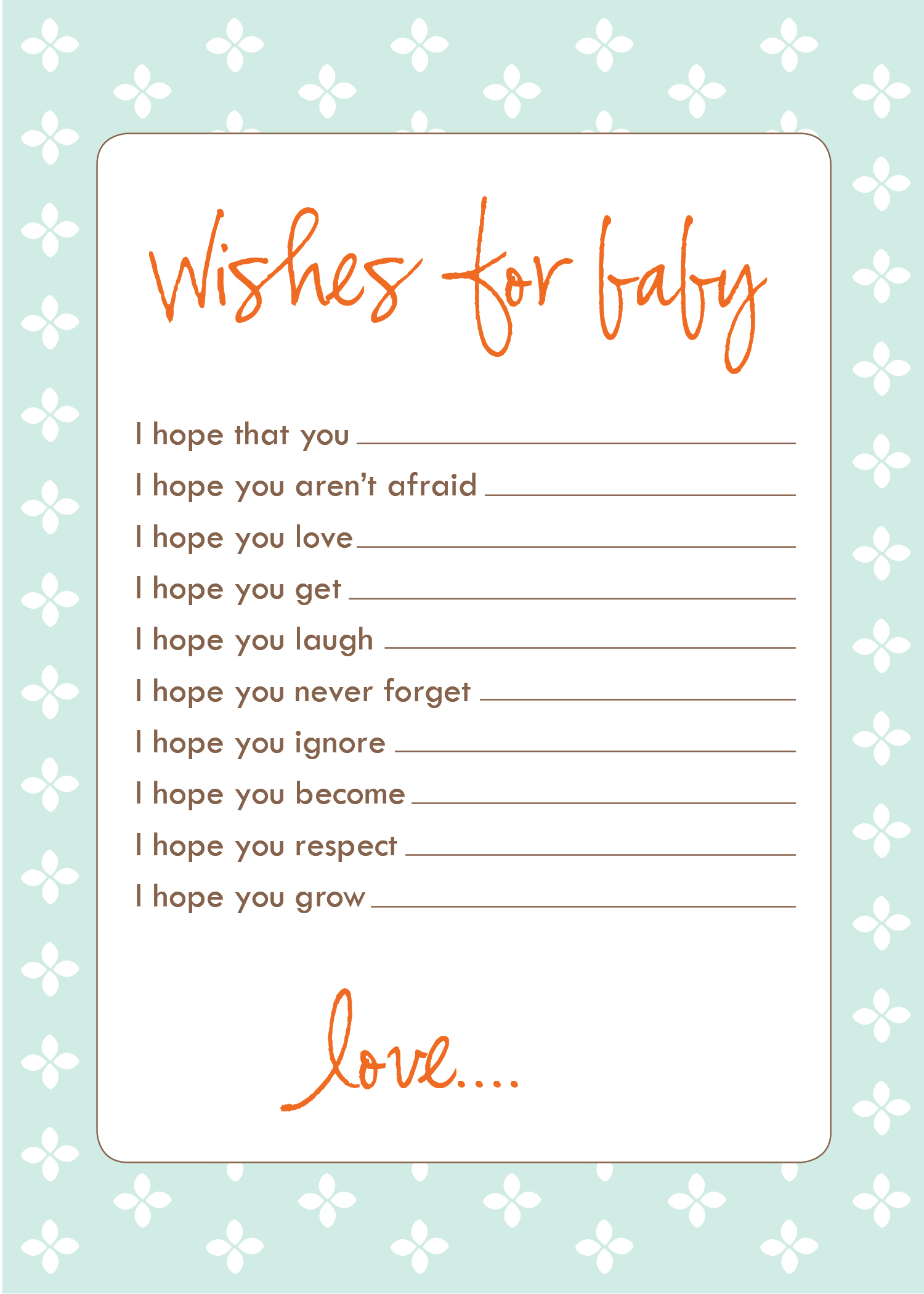 8 Images of Printable Baby Shower Wish Cards