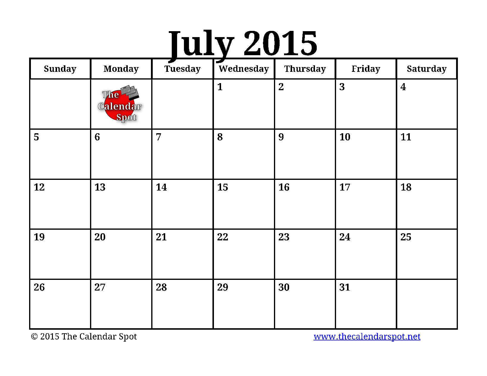 9 Images of Free Printable July Calendar Templates 2015