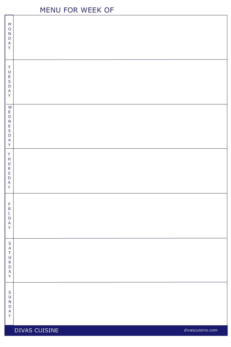 Free Printable Blank Weekly Menu Templates