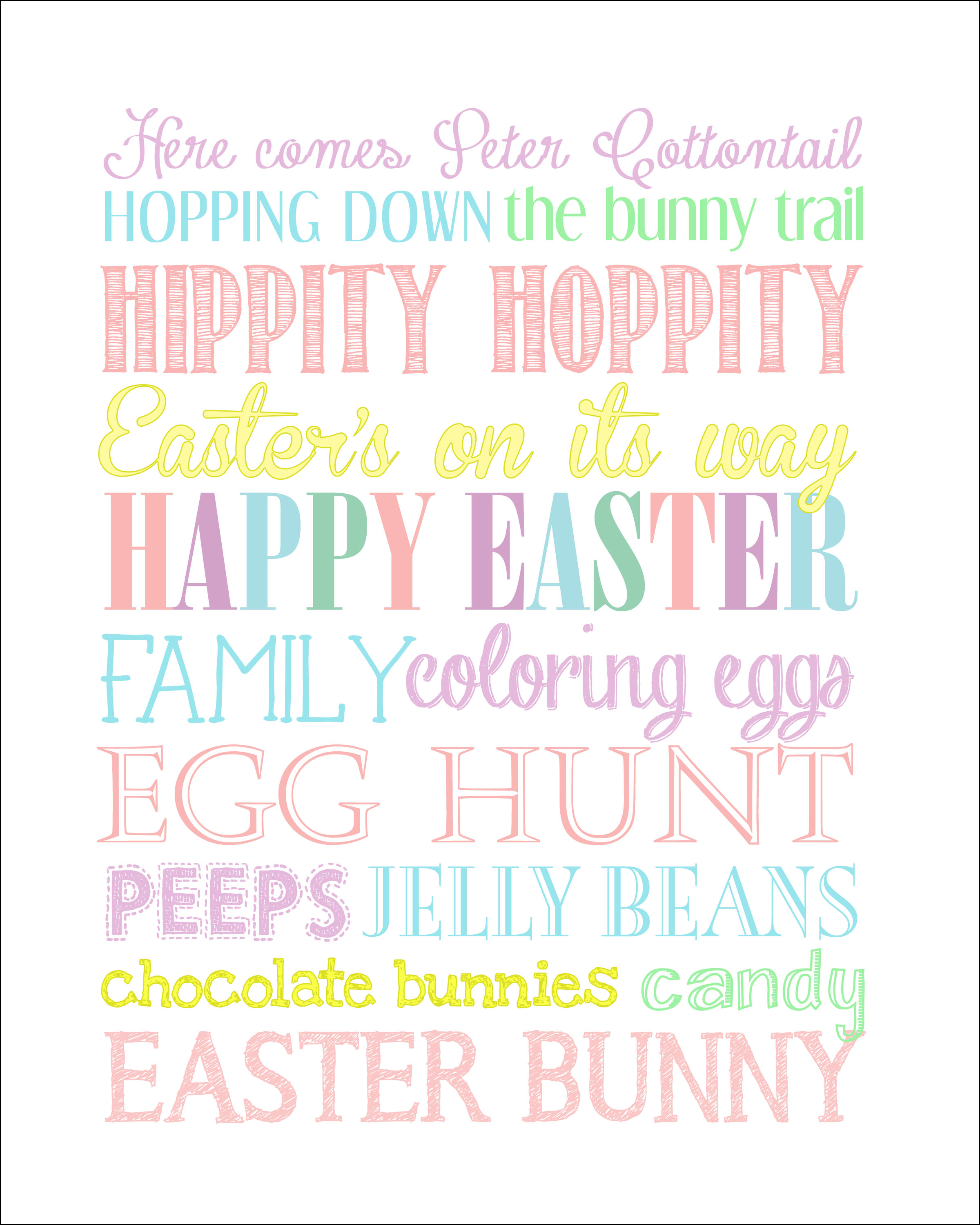 5 Images of Free Printable Easter Subway Art Spring