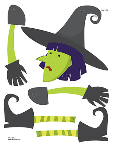 6 Images of Witch Paper Crafts Printable