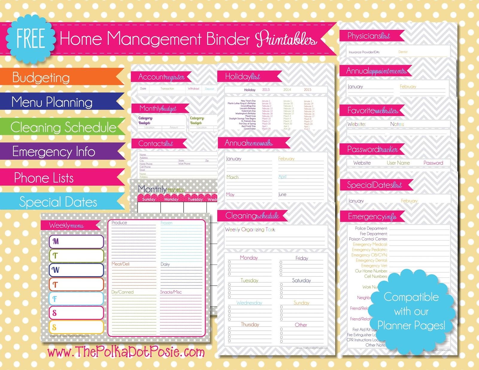 Free Printable Home Binder Pages