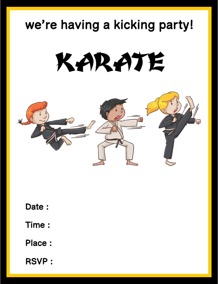 Printable Karate Birthday Card