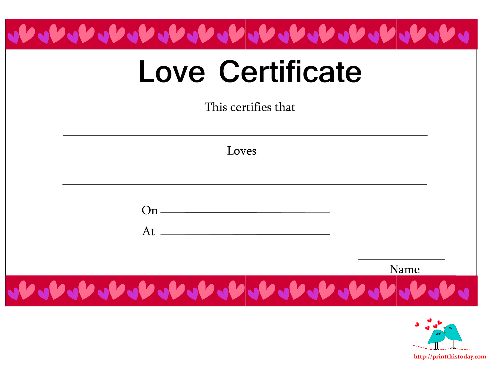 7 Images of Printable Love Certificates