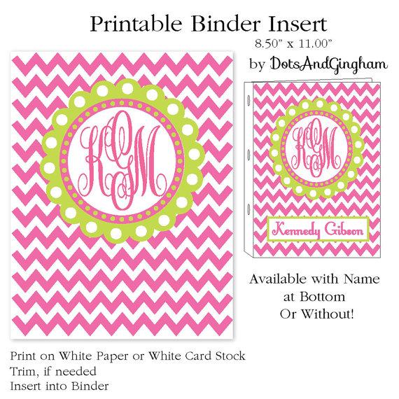 Free Printable Monogram Binder Covers