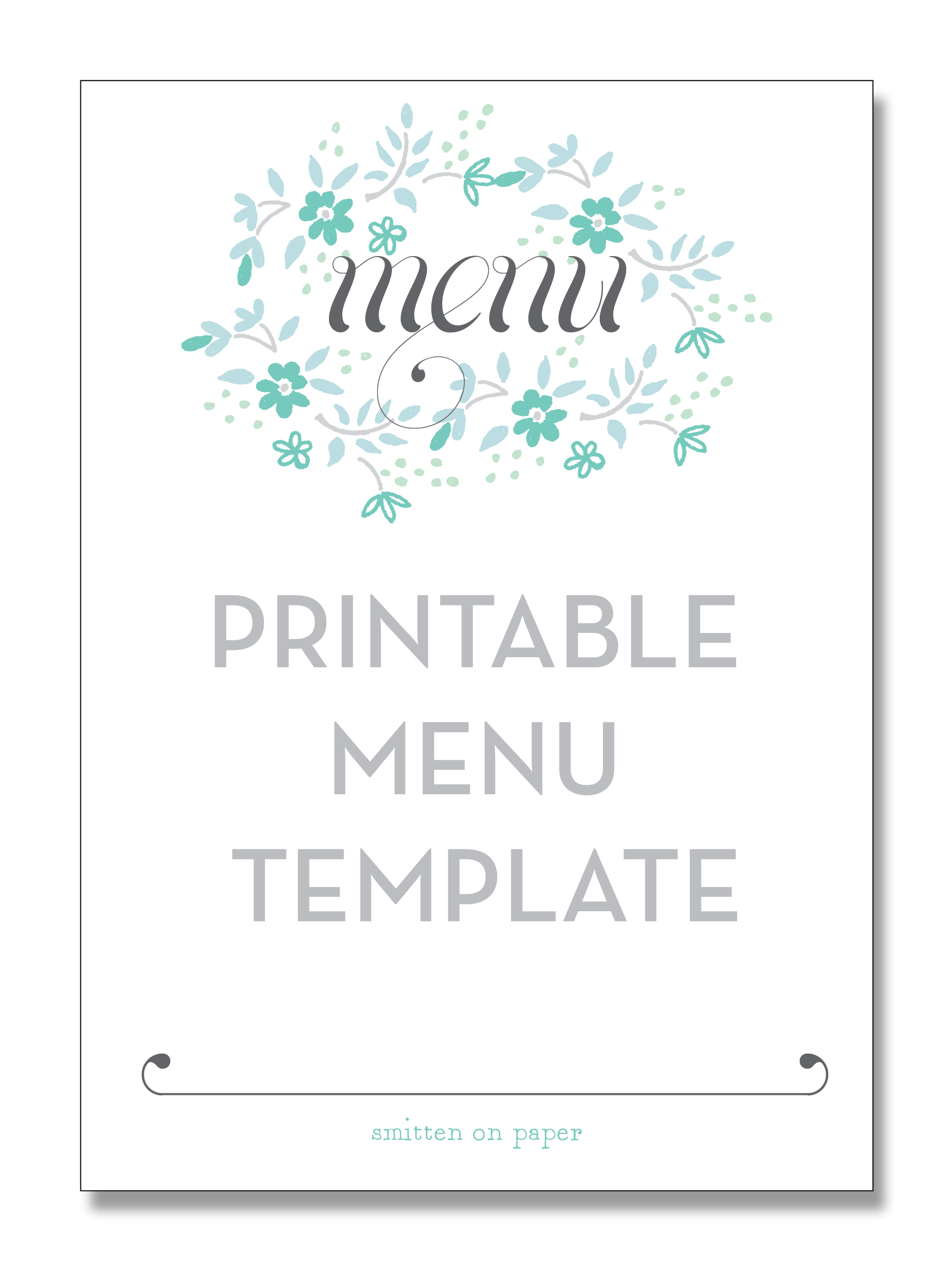 Free Printable Party Menu Templates