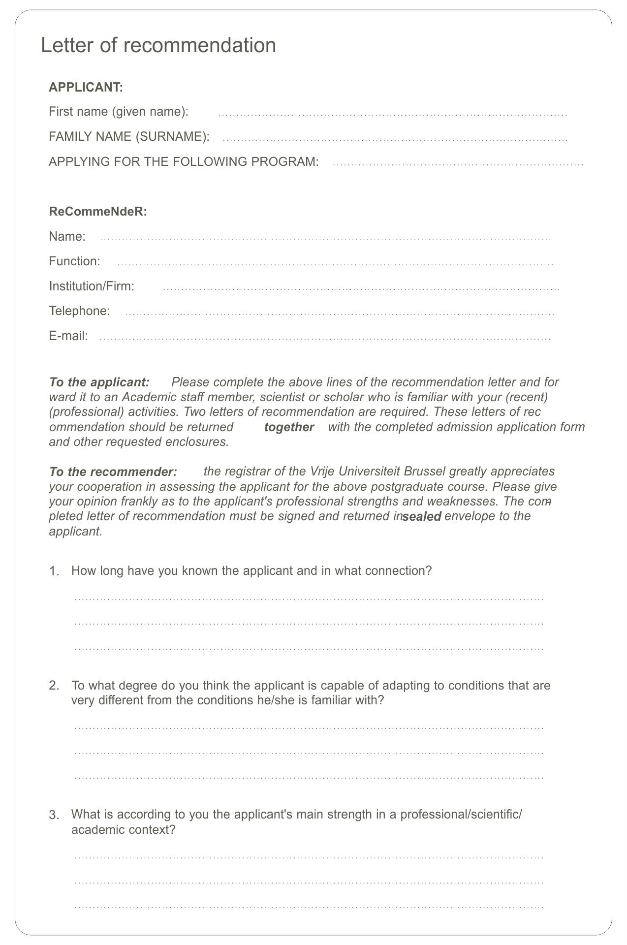Printable Recommendation Letter Samples