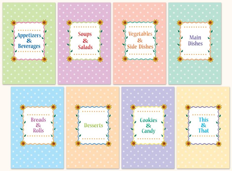 Free Recipe Book Dividers for Cookbook