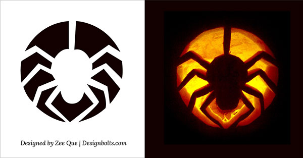 Cute spider pumpkin stencil
